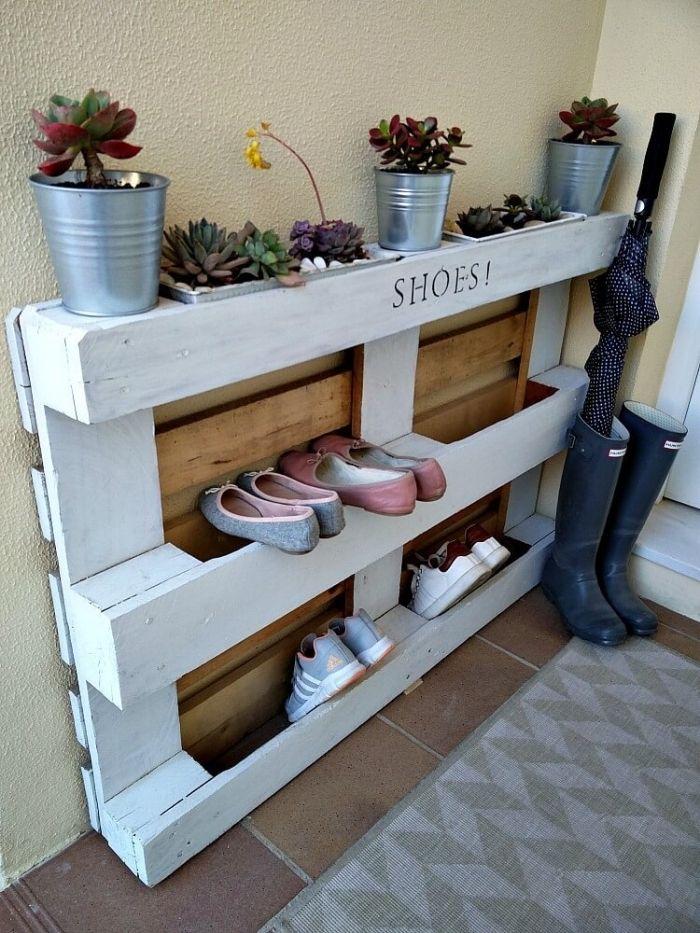 Meuble chaussure palette 1001 id es pour trouver l Fabriquer meuble a chaussures
