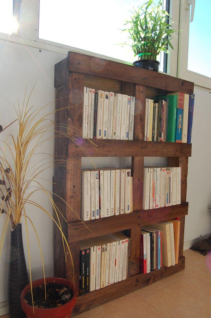 lits en palette : bibliothèque en palette / pour une tête de lit