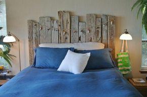 Lits en palette : Tête de lit en bois flotté pour une chambre d ...