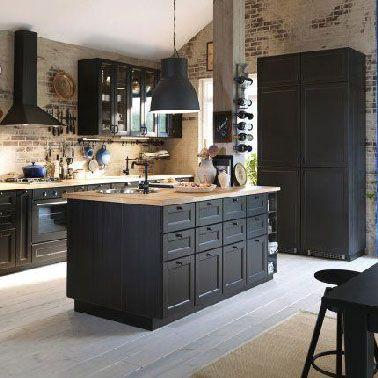 Verrière Cuisine Cuisine Noire Avec Ilot Ikea Et Murs En