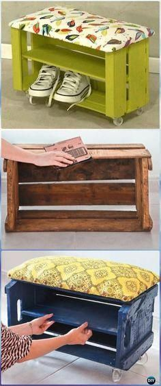 Meuble Chaussure Palette Diy Wood Crate Shoe Bench