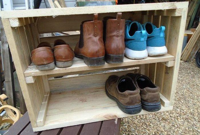 Meuble A Chaussure Caisse En Bois.Meuble Chaussure Palette Diy Decoro 360 Votre