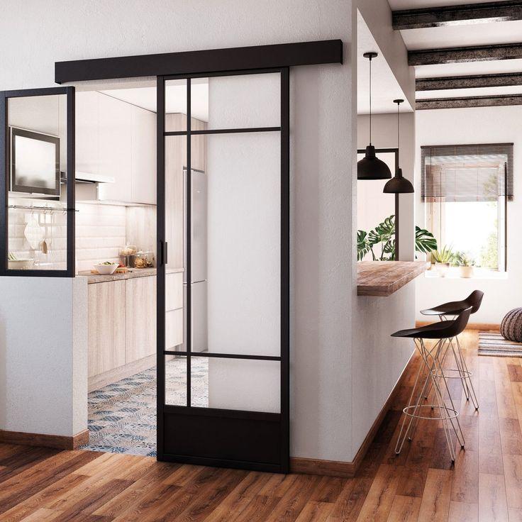Verri re cuisine porte coulissante vitr e noir emma - Meuble de cuisine avec porte coulissante ...