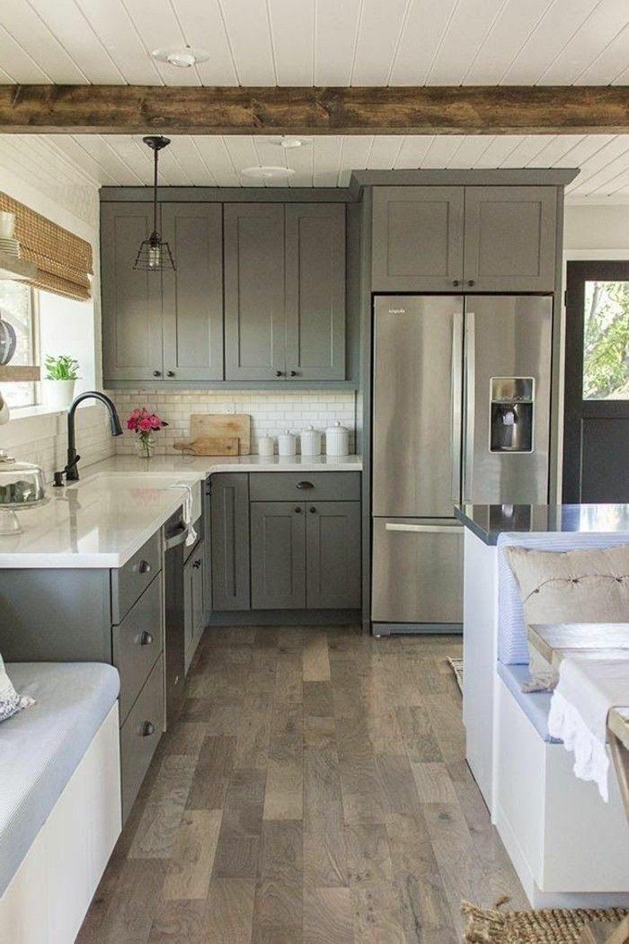 Verrière Cuisine : jolie cuisine moderne en bois, repeindre une ...