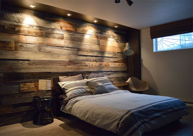 Lits En Palette : Mur De Bois Dans Une Chambre
