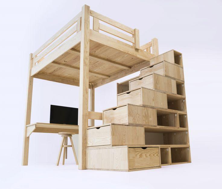 Lits En Palette Lit Mezzanine Alpage Bois Cube Escalier