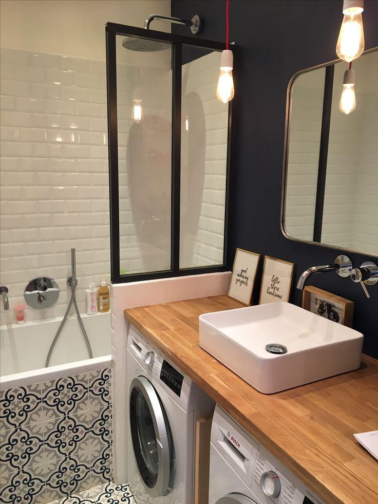 Verrière Cuisine : Salle de bains bleu, paroi de douche en verrière ...