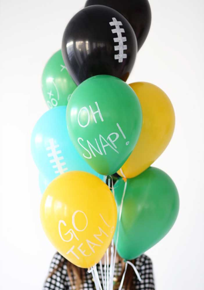 Colorful and personalized balloons with American football theme