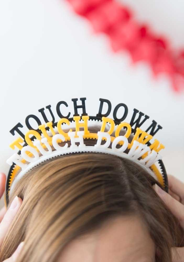 How about hair tiaras with the phrase football symbol?