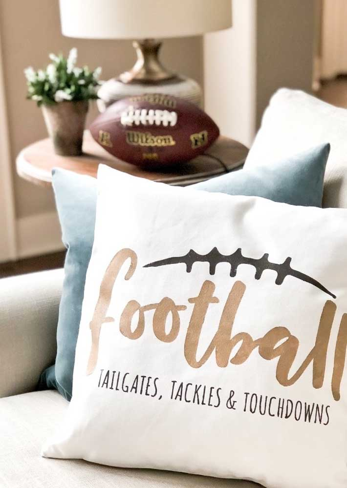 Here, even the cushions will get in the mood for the Super Bowl party