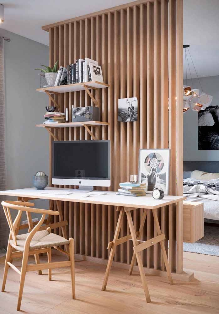 White desk with wooden easel feet: a modern proposal capable of making the home office more cozy