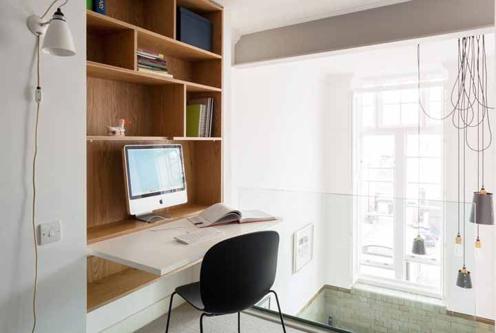 Solution for small spaces is multifunctional furniture; this desk, for example, can be closed after use