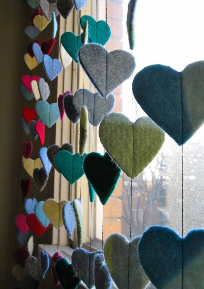 Another option is to sew the felt hearts directly on the curtain thread