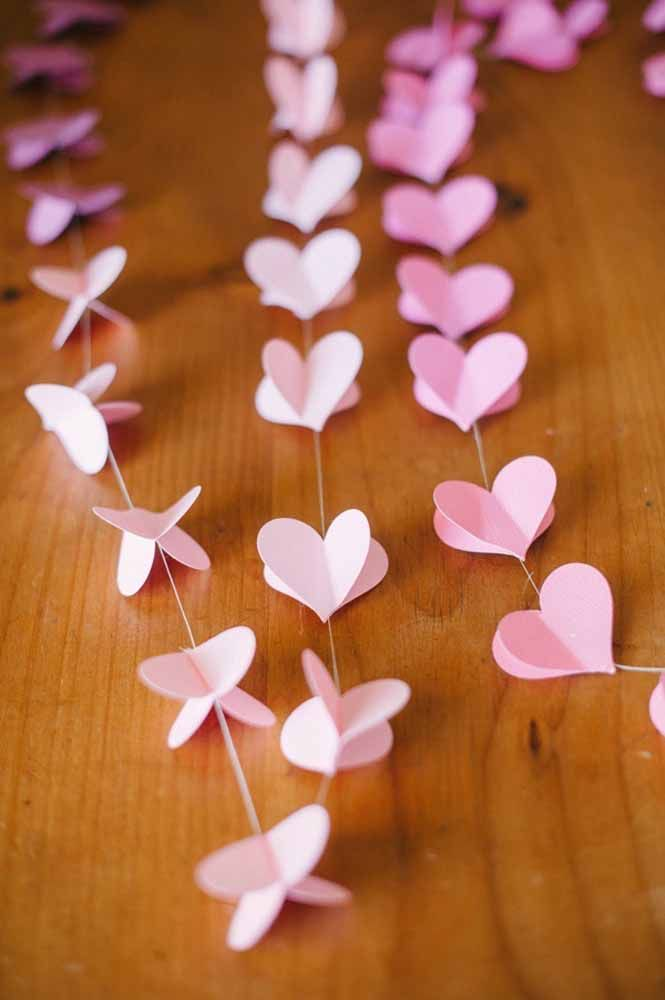 3D heart curtain in pink: romantic and delicate