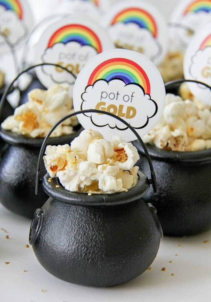 Here, the pot of gold has been replaced by popcorn!