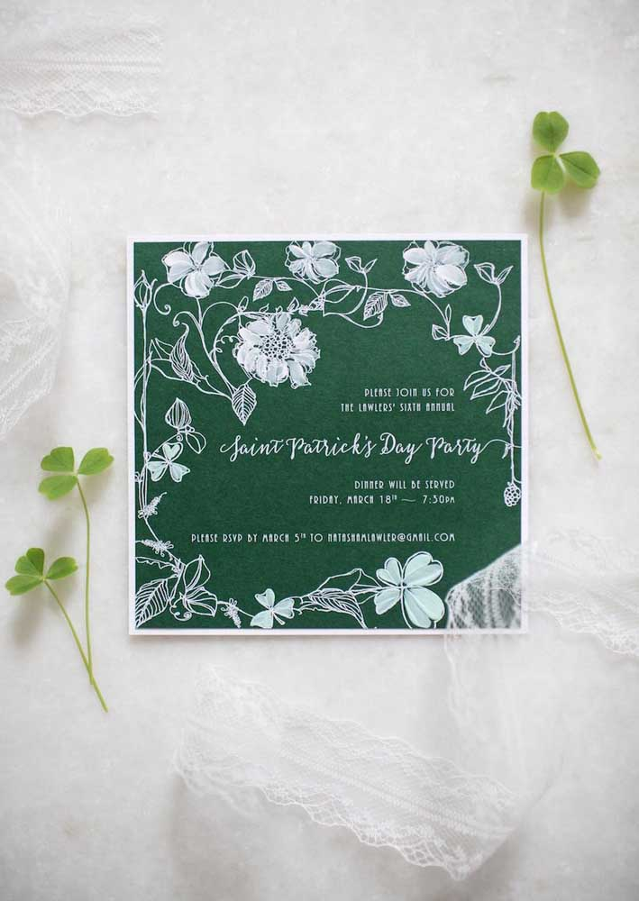 Invitation to the feast of Saint Patrick. The dark green tone ensures a touch of elegance to the event