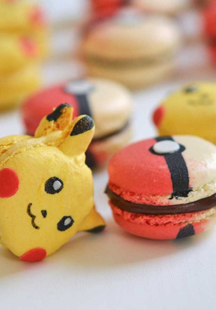 Macarons take on different shapes with pokemon characters and items like pokéball.