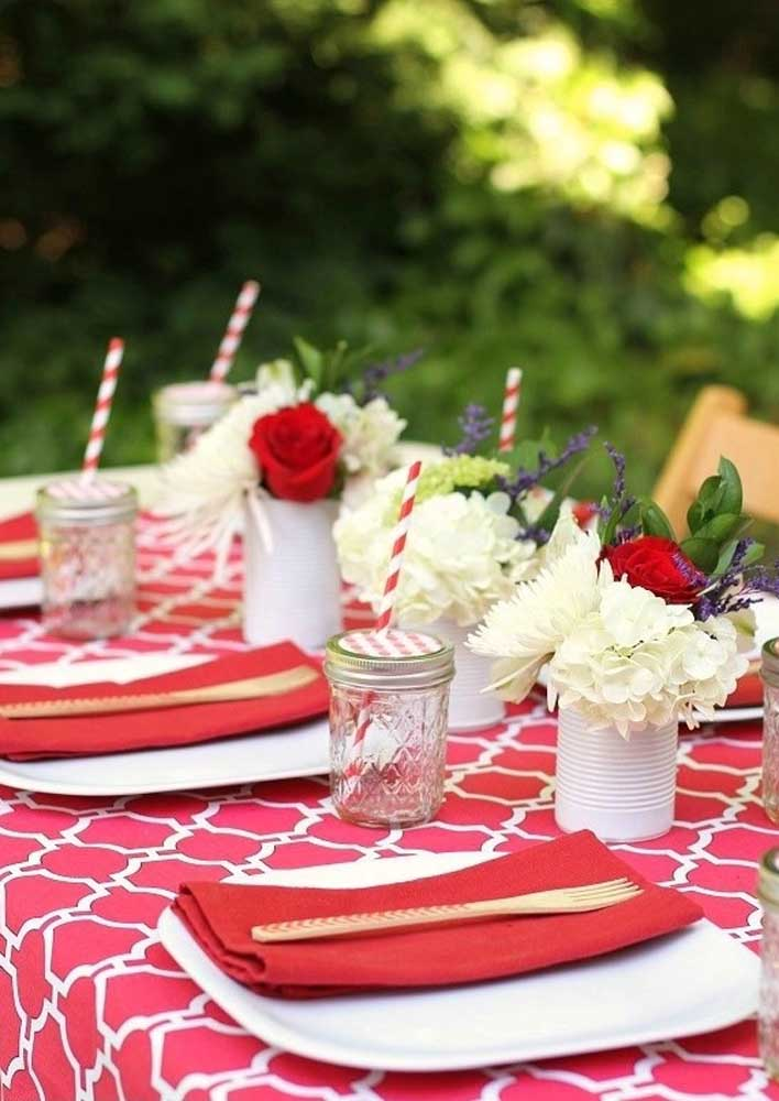 Use recyclable materials to make the hot dog night centerpiece.