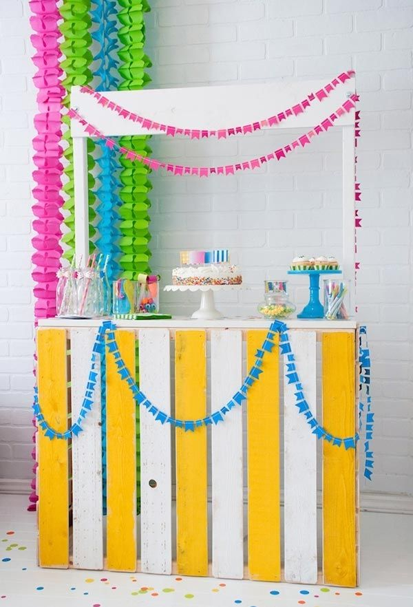Candy corner with multicolored garlands