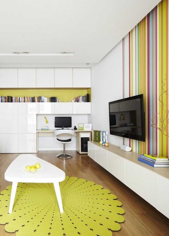 Seen from another angle, this living room reveals shades of greenish yellow