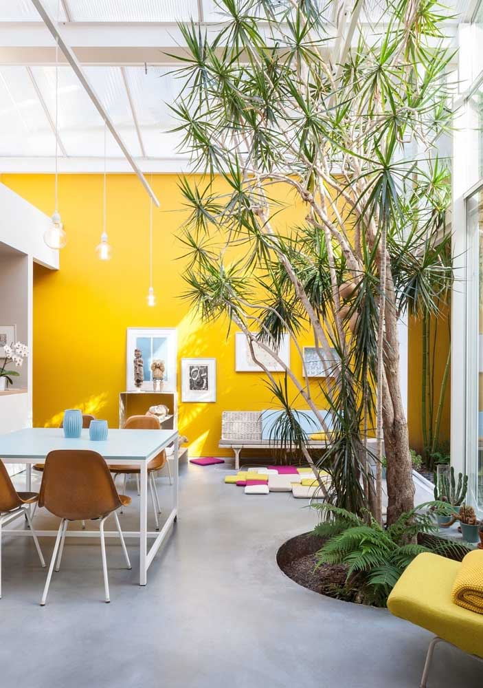To further enjoy the natural light entering the room, paint the wall yellow