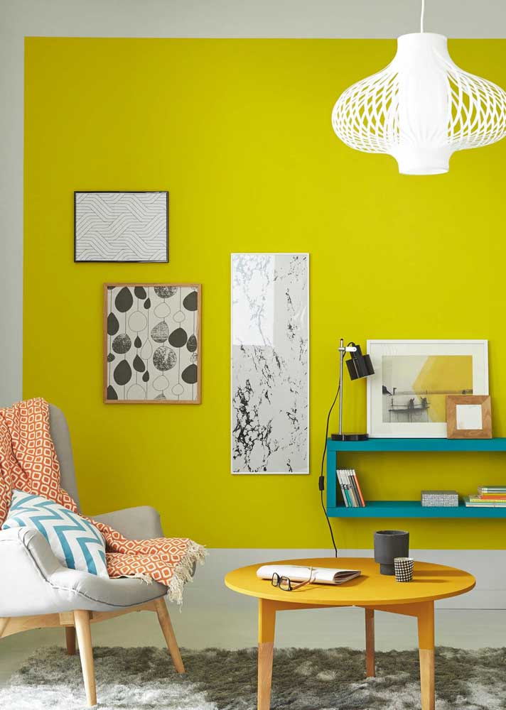 Yellow wall for a modern room in neutral tones