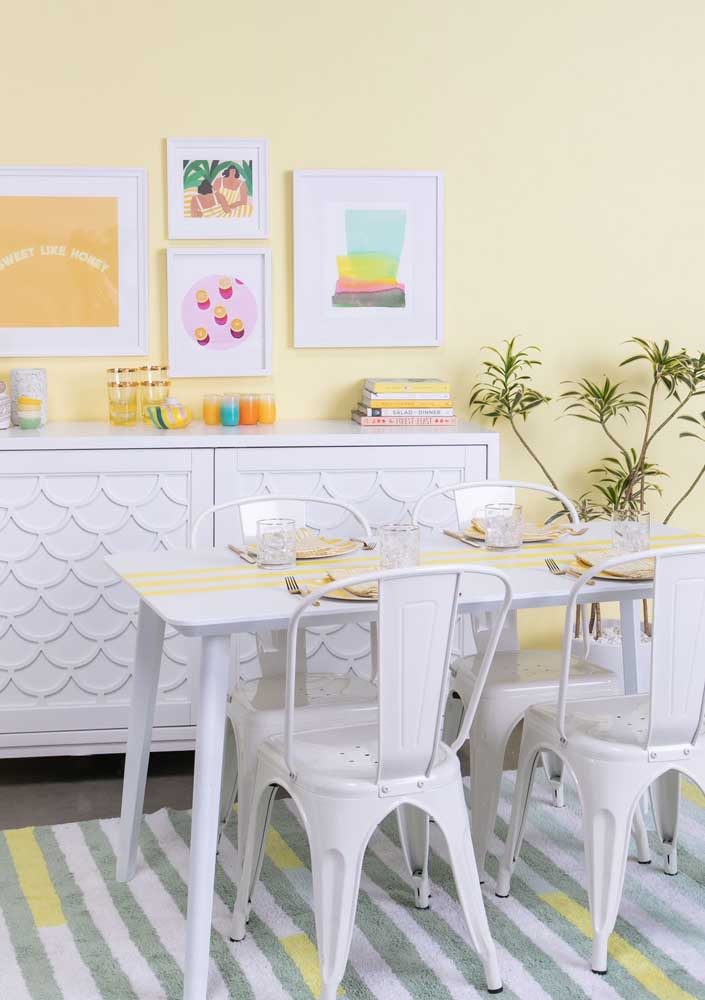 For the retro-style room, a yellow wall in pastel tone
