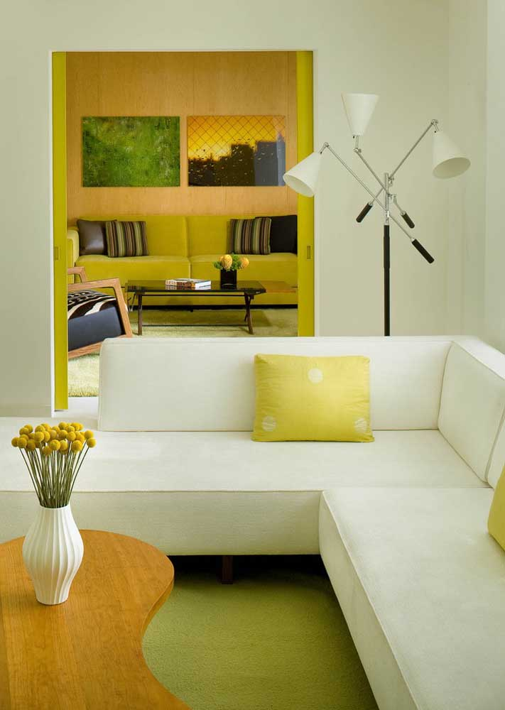 For an elegant room, create a white and neutral base and insert yellow in small details