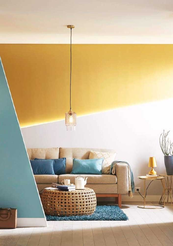White and yellow geometric wall