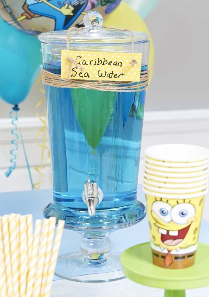 Blue drink to match the decoration of the SpongeBob party