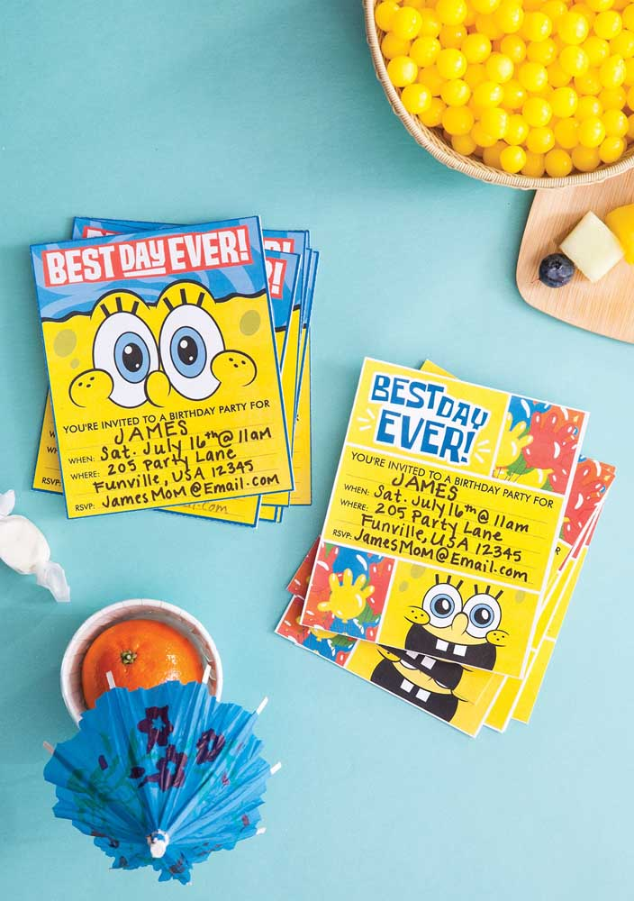 Two SpongeBob invitations to a single party!