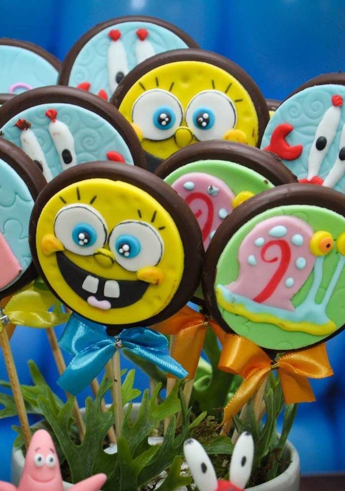Chocolate lollipops decorated with SpongeBob characters. Kids will love it!