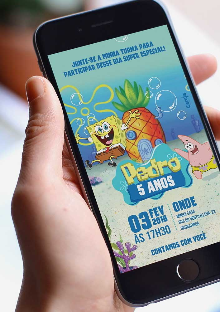 Online invitation template for SpongeBob party. More practical, fast, cheap and ecological