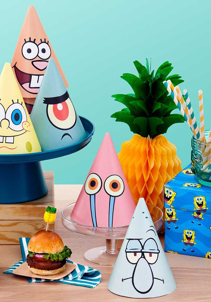 Birthday hats with SpongeBob characters. To decorate and have fun at the time of Congratulations
