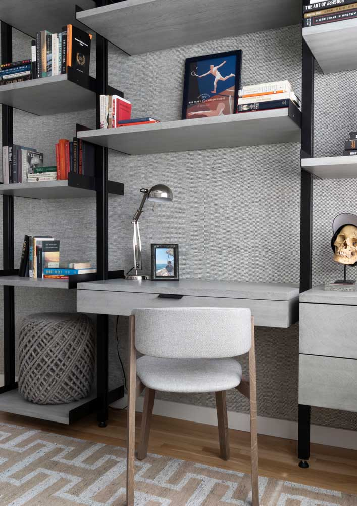 Adapted home office on the living room shelf