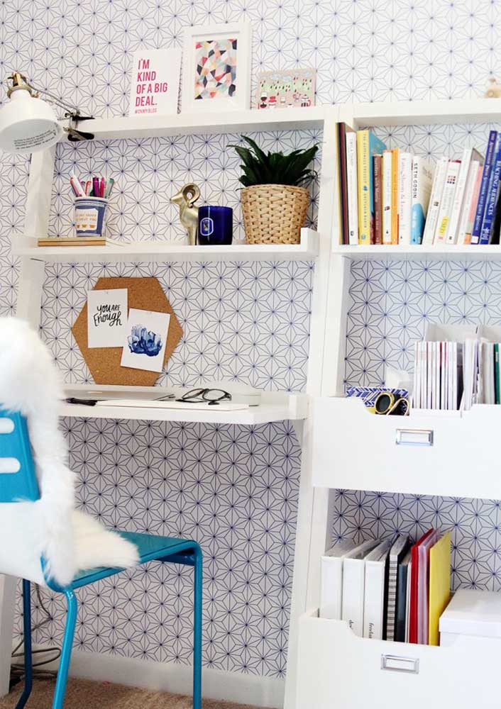 Wallpaper is an inexpensive and simple way to decorate your home office