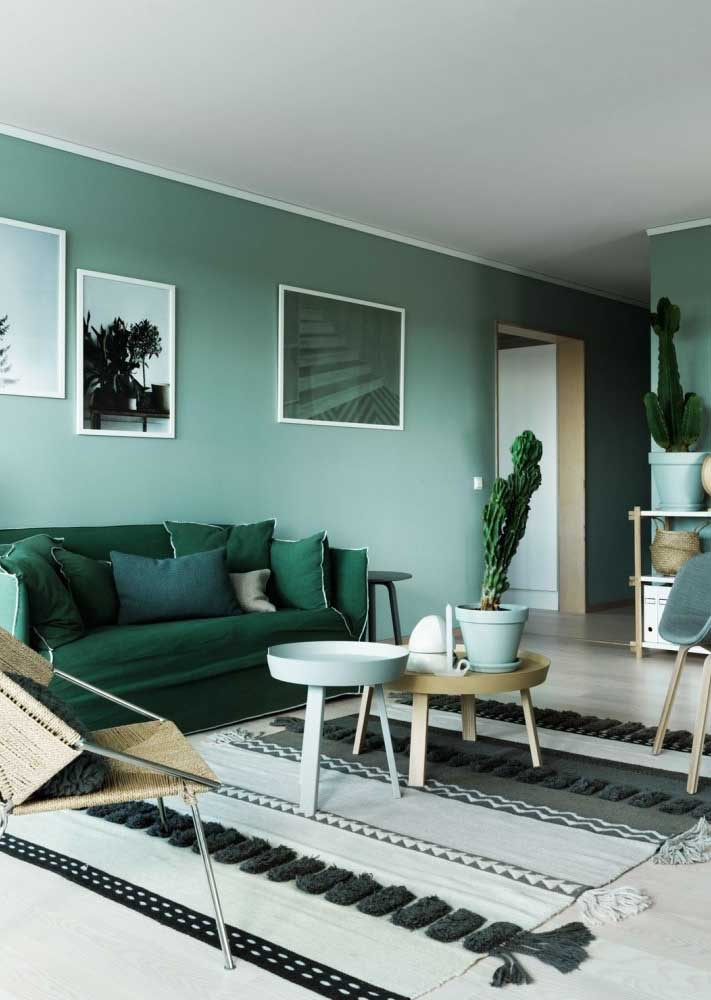Living room with green wall combined with sofa in a darker tone