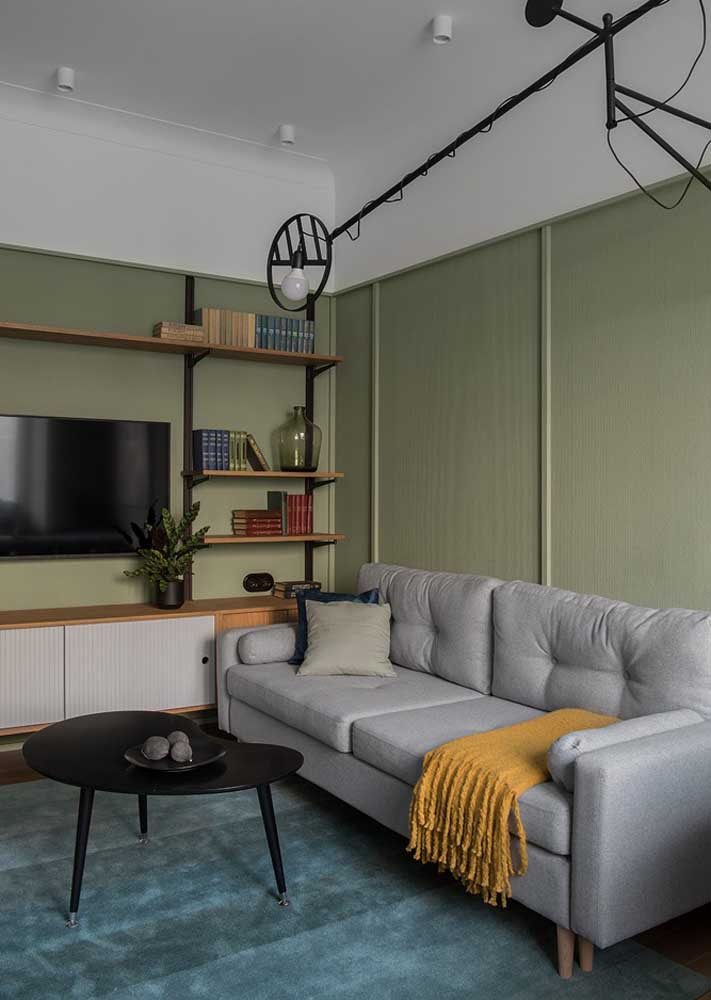 Green and gray room for a discreet, clean and modern decor