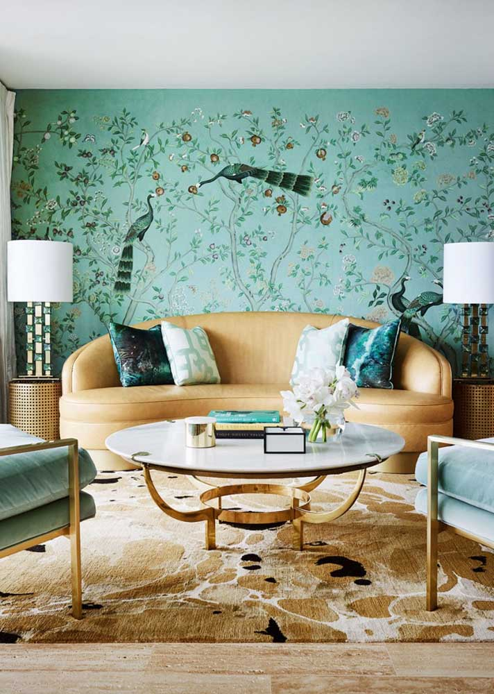 How much charm and beauty in this room with hand painted wall! Caramel furniture completes the decor like a tight hug