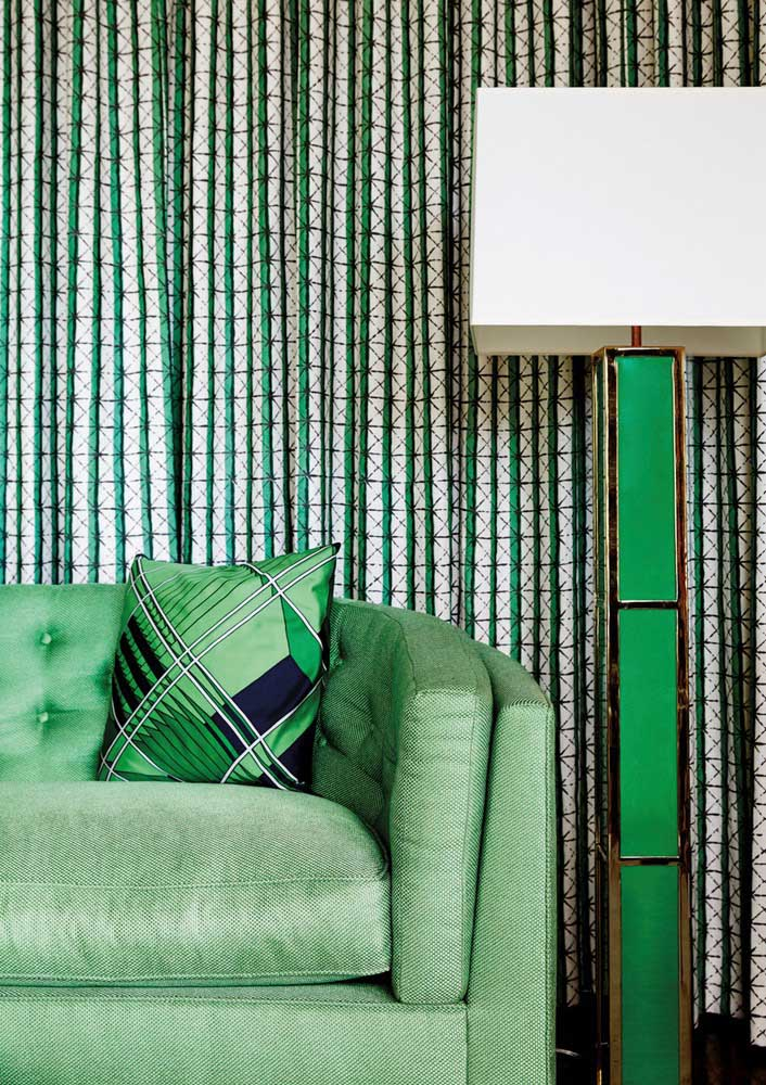 Here, green comes with geometric prints