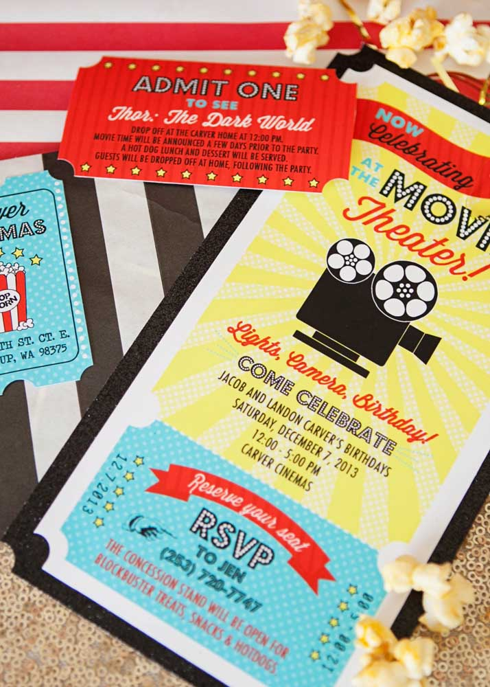 Simple but super themed invitation to the movie night