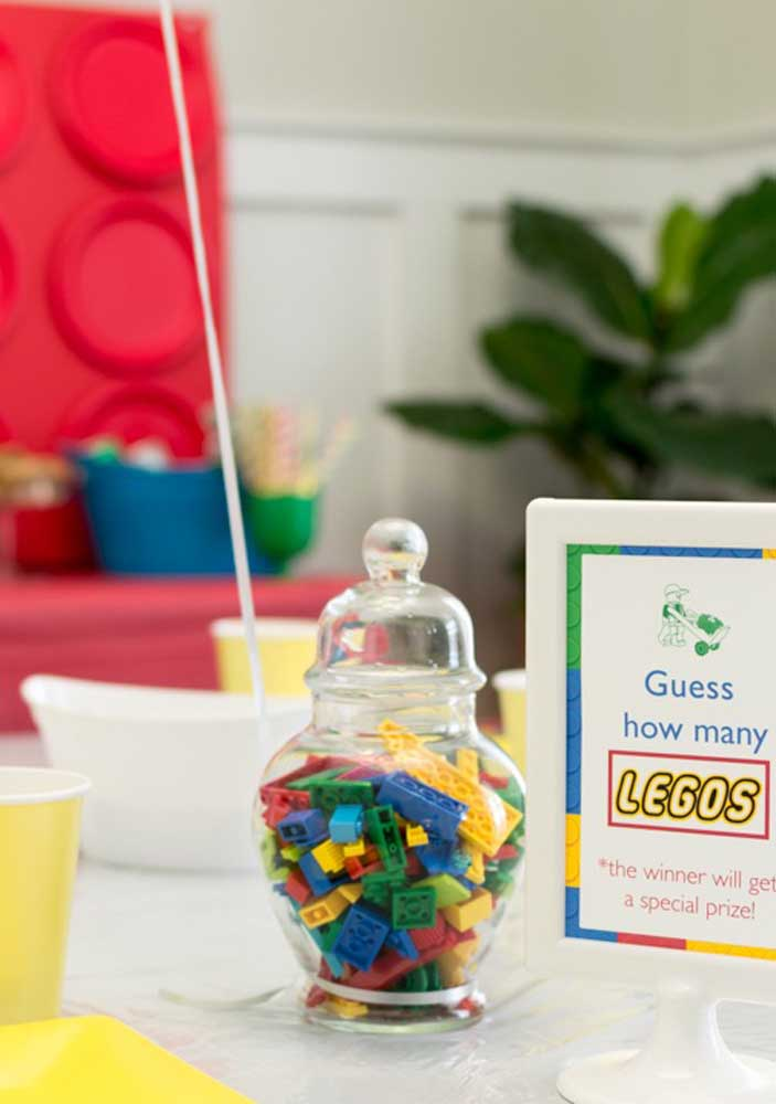 A glass jar and several pieces of Lego: the centerpiece is ready