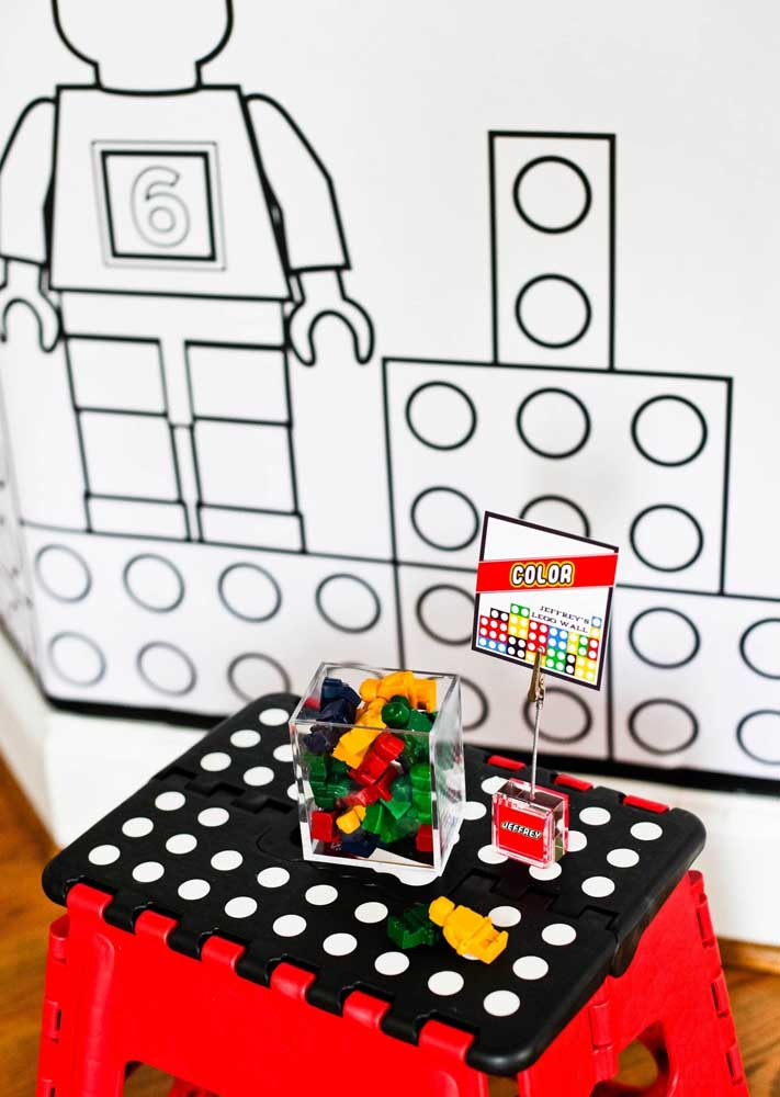 Sprinkle little Lego pieces and minifigures for kids to play during the party