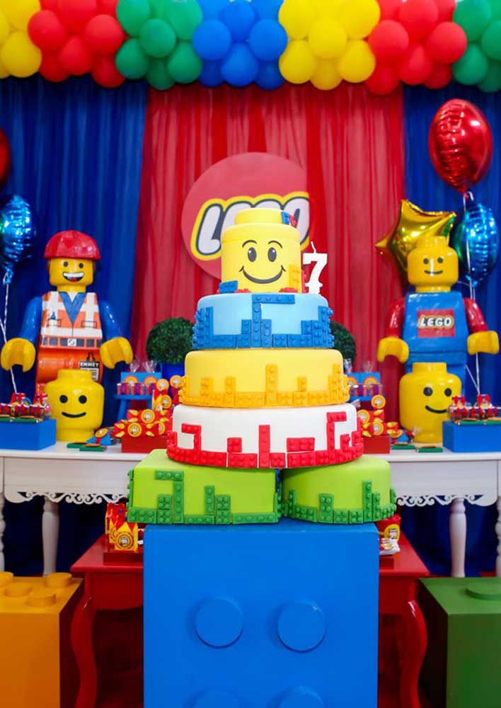 Lego story cake decorated with American paste