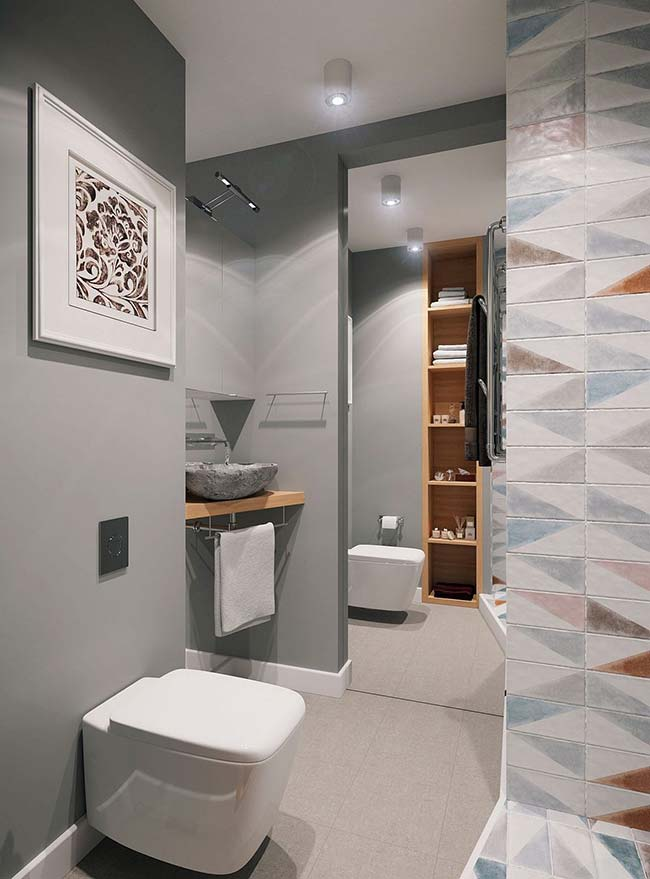 Small decorated gray bathroom