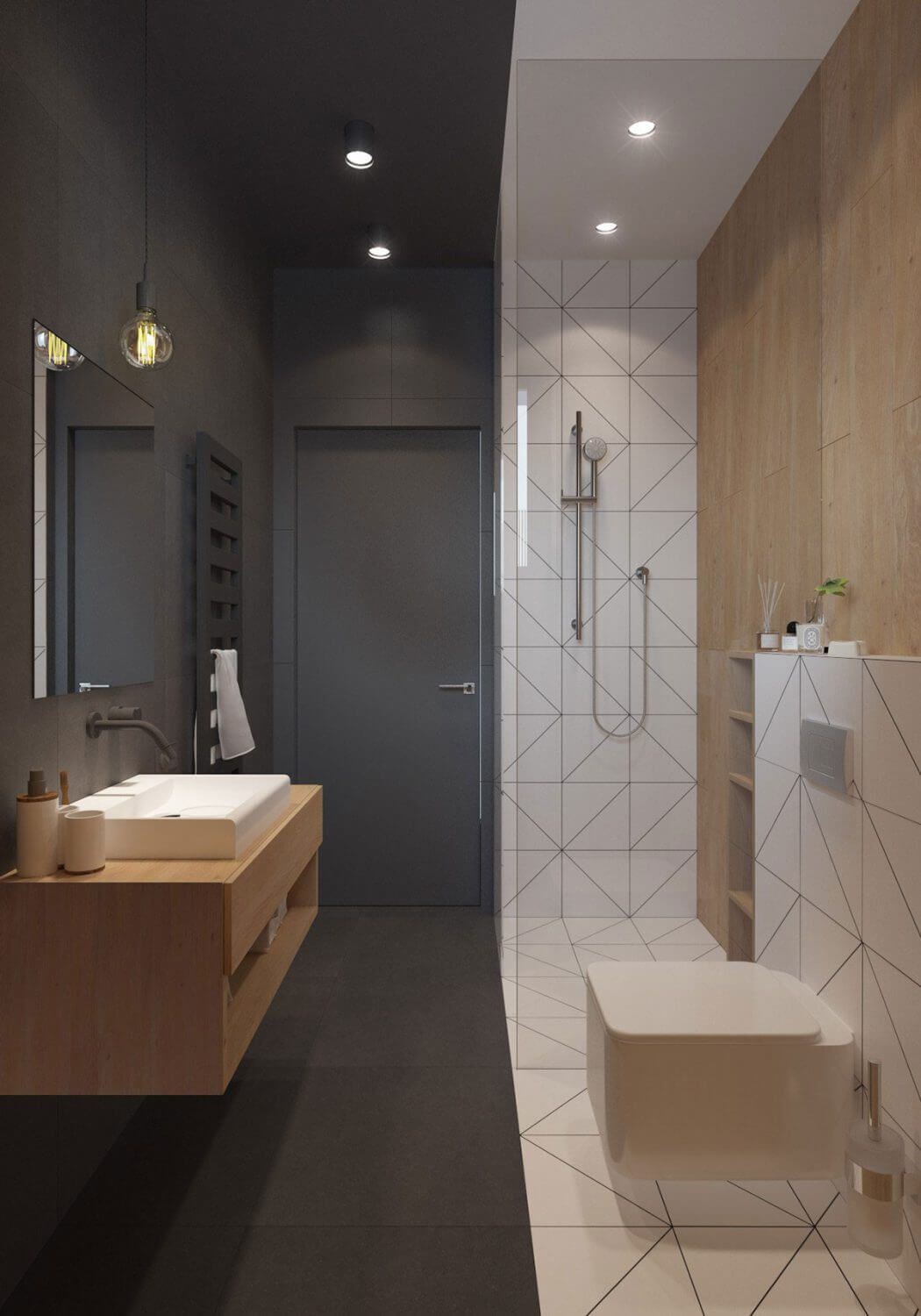 Small rectangular decorated bathroom