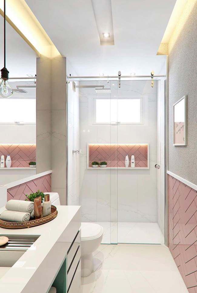 Small white and pink decorated bathroom