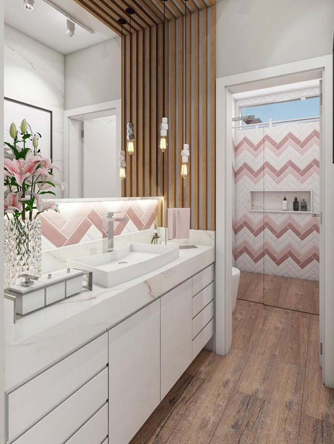 Pink zigzag pattern on the tile adds a special touch to the decor