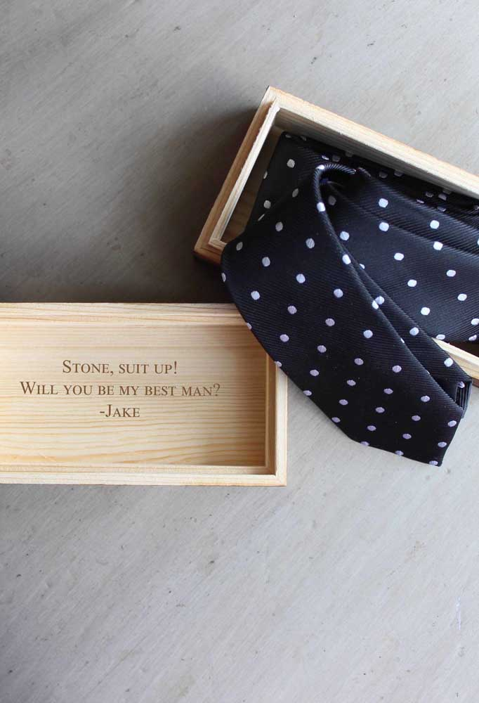 Offer the tie for the wedding day along with the invitation