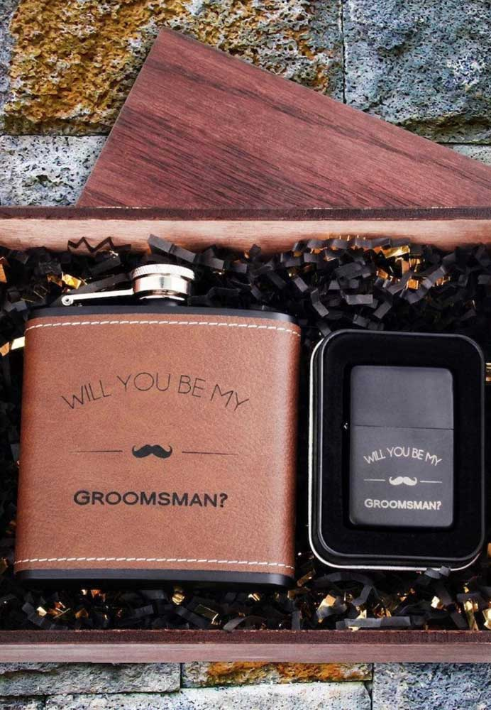 Here, both the drink and the lighter bring the bride and groom's official request